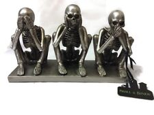 Resin Halloween Skeleton Figurine Statue Decoration See Hear Speak No Evil Skull