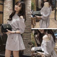 Korean Women OL Summer Off Shoulder A Line Slim Sundress Casual Short Mini Dress