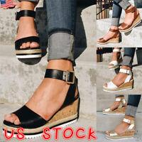 Women Lady Wedge Sandals Espadrilles Ladies Platform High Heels Slingback Shoes