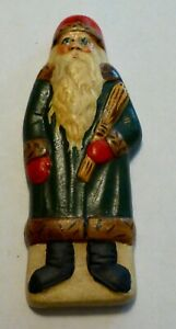 Vaillancourt Folk Art Chalkware FATHER CHRISTMAS IN GREEN COAT Ornament..Retired