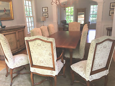 10 European Wood and Upholstered Chairs (2 arm and 8 side) Dining Room Chairs