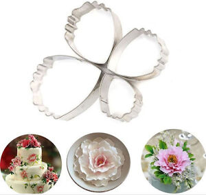 Carnation Peony Flower 4 pc Metal Cookie Cutter Set NEW