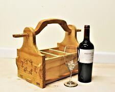 Wooden Wine & Beer Caddy, Bottle Holder with Vintage Style Opener, Handmade