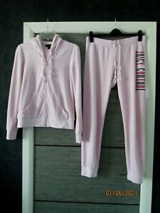 LADIES JUICY COUTURE BLACK LABEL PINK VELOUR HOODY TRACKSUIT SIZE MED