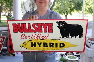 """Bullseye Certified Hybrid Seed Corn Farm Gas Oil 24"""" Embossed Metal Sign~Nice"""