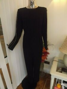 M&S BLACK LONG SLEEVE JUMPSUIT TROUSERS TOP ALL IN ONE SIZE 16L 16 LONG BNWT £65