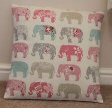 "CLARKE & CLARKE ""ELEPHANTS"" CUSHION COVER 16 X 16"" PASTELS"