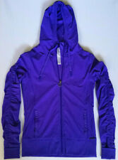Lorna Jane Ladies Yoga Purple Jacket Ruching Sleeves Hoodie Zip Size Small BNWOT