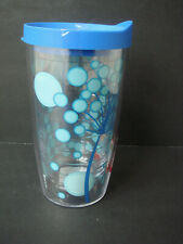 NEW TERVIS Blue bubble pattern Tumbler Glass 16oz with blue lid
