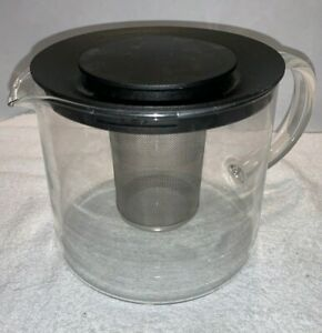 Vintage Bodum C Jorgensen style Tea Pot w/ Glass Handle & Stainless Infuser