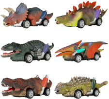 DINOBROS Dinosaur Toy Pull Back Cars, 6 Pack Dino Toys for 3 Year Old Boys and T