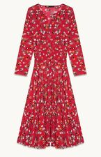 Maje Rayelle Printed Midi Dress, Red Floral, Size 1, New With Tags, Never Worn