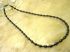 """Magnetic / hematite necklace 18"""" – oval-shaped beads 5mm x 7mm"""