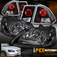 2001 2002 2003 Honda Civic 4Dr Sedan JDM Black Headlights + Black Tail Lights