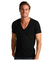 FREE SHip BLACK V NECK COtton Short sleeve T-shirt top tee Casaul MEN S M L XL