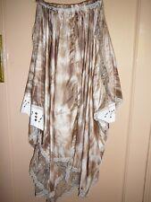 Jungle Tie Dye cullotte Falda De Cuero Blanco Sedoso Oro Beige Encaje Paneles pequeño