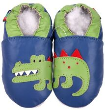 shoeszoo soft sole leather baby shoes crocodile blue 0-6m S