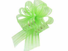 Green Pom Pom Bow Large x 1 Organza
