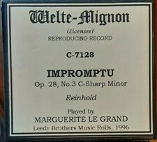 IMPROMPTU BY REINHOLD WELTE RECUT REPRODUCING PIANO ROLL
