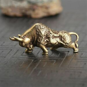 Solid Brass Bull Figurine Small Home Statue House Ornament Animal Figurines