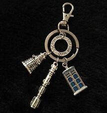 Dr Who Inspired Charm Keyring Police Box Phone Box Clip Key Darlek Sonic Screw