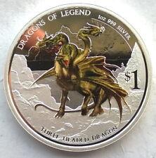 Tuvalu 2013 Three Headed Dragon Dollar 1oz Colour Silver Coin,Proof