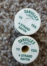 Danville 2 Spools of 10 yards 4 strand rayon black thread heavy flat floss.