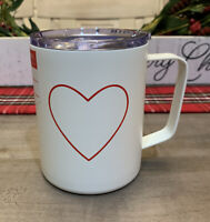 Rae Dunn - Heart - Insulated Stainless Steel White Travel Mug w/ Lid - 12oz