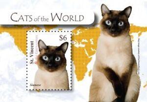 St. Vincent 2010 - SC# 3729 Cats of the World, Siamese - Souvenir Sheet - MNH