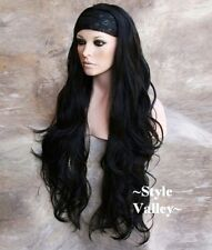 "33"" BLACK 3/4 Fall Hairpiece Extra Long Half wig Wavy Layered Hair Piece"