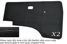 BLACK STITCH 2X DOOR CARDS LEATHER SKIN COVERS FITS VW T25 T3 WESTFALIA CAMPER