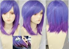 Harajuku Lolita purple mix short straight Cosplay Heat-Resistant wig +Gift AE213