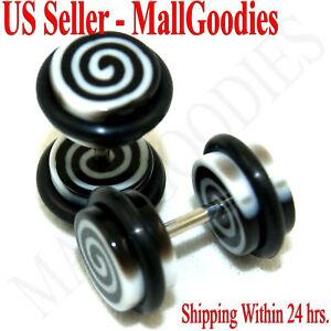 0124 Fake Cheaters Illusion Faux Ear Plugs 16G Black & White Spirals Swirl 0G