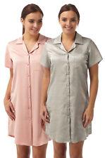 Womens Short Sleeve Satin Collared Long Nightshirt/Nightie/Nightdress 10-22