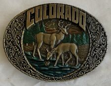 Colorado Belt Buckle deer elk river bed forest 1983 Indiana Metal Craft 1980's