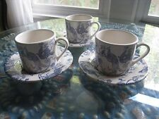 3~STAFFORDSHIRE ENGRAVINGS BIRD OF PARADISE CUP & SAUCERS