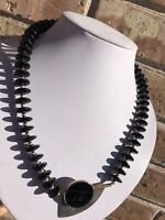 Vtg Modernist AJV Sterling Silver Discs Bead Triangle Onyx Pendant Necklace MCM