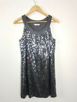 Portmans Silver Grey Sequin Shift Party Club Dress Women's Size M Sleeveless