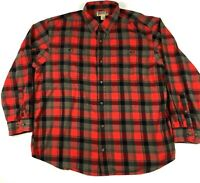 Duluth Trading Co Men's Heavy Flannel Shirt Sz 2XL Red Gray Long Sleeve Plaid