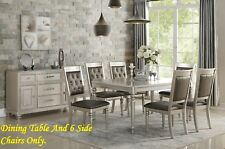 Silver Finish Trim Formal Rect Dining Table Black Upholstery Seat Tufted Chairs