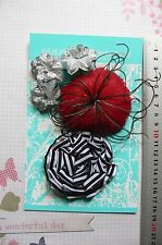 RED BLACK SILVER Fabric Feather Facinator Flower 5 Flower Pk 35-80mm Manor House