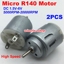 2PCS Micro R140 Motor DC 1.5V-6V 20000RPM High Speed 9mm Shaft Round Motor DIY