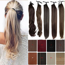 -Drawstring Ponytail Straight Clip in  Human Hair High Ponytail  Extension 80g
