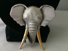 VTG. PEWTER & GOLD TONE AFRICAN ELEPHANT LARGE BROOCH