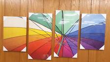 4pc Canvas Art Set Umbrella