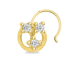 Sterling Silver Round Women'S Nose Pin 14K Yellow Gold Finish Three Stone 925