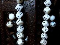 Rare Set of Vtg 1950s Milk Glass Dice Beads Choker Necklace & Clip on Earrings
