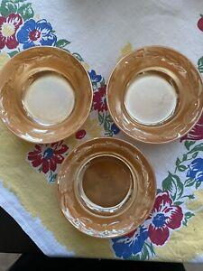 Set of 7 Anchor Hocking Bubble Peach Lustre Dessert or Fruit Bowls