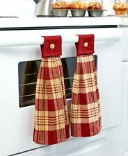 Set Of 2 Hanging Country Kitchen Towels Primitive Checkers Burgundy Towels