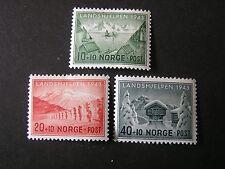 Norway, Scott # B32-B34(3), Complete Set Semi-Postal Winter Relief 1943 Issue Mh